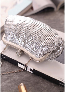 Fashion Pleated Aluminum Silver Sequin Banquet Bags