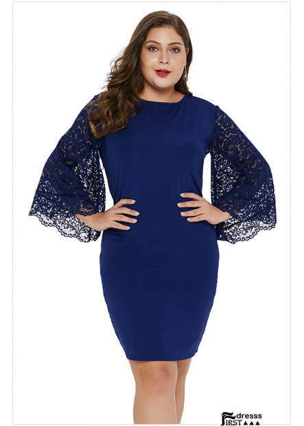 Lace Flare Sleeve Round Neck Sexy Party Bodycon Plus Size Dress
