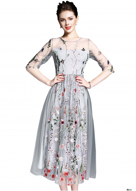 Embroidery Fairy Long Party Dresses