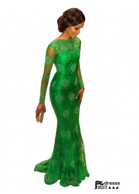 Long Sleeves Green Mermaid Long Evening Gown