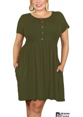 Button Pocket Short Sleeve Casual Plus Size Dress