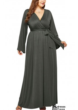 Long Sleeve V Neck Wrap Tied Casual Plus Size Dress