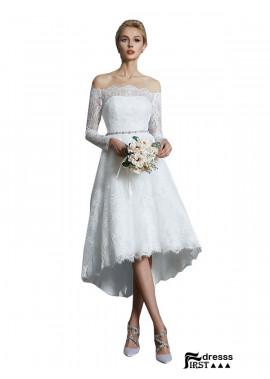 Firstdresss 2021 Long Sleeves Short Lace Wedding Dress