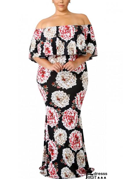 Black Floral Off Shoulder Ruffles Sexy Maxi Plus Size Bodycon Dress