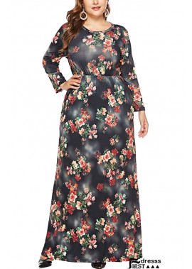 Floral Print Pocket Long Sleeve Casual Plus Size Maxi Dress