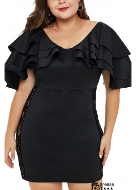 Black Lace Crochet V Neck Ruffles Sexy Party Plus Size Bodycon Dress