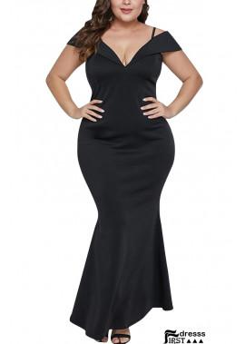 Black V Neck Short Sleeve Sexy Plus Size Mermaid Dress