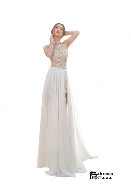 Firstdresss Beach Long Wedding Evening Dresses