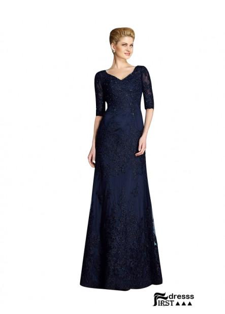Firstdresss Navy Blue Mother Of The Bride Dress V Neck Half Sleeves