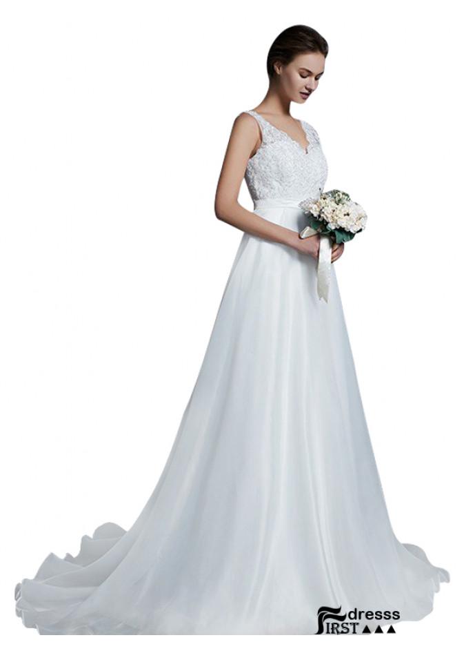 Cheap Plunge Wedding Gown Renew Vows Wedding Dress Worn Wedding Dress