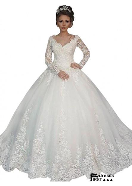 Firstdresss 2021 Ball Gowns V Neck Long Sleeves Bridal Dress