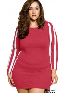 Contrast Stripe Long Sleeve Casual Plus Size Mini Bodycon Dress