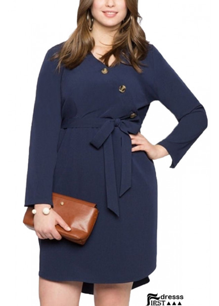 Dark-blue Long Sleeve Tied V Neck Casual Plus Size Dress