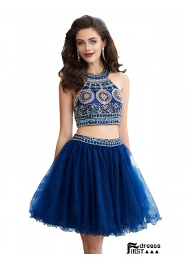 Firstdresss Sparkly Short 2 Piece Prom Evening Dress