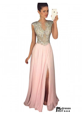 Firstdresss Pink Long Prom Formal Evening Dresses US Online With Beads