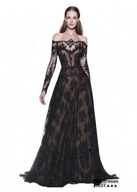 Firstdresss Black Off The Shoulder Lace Women Evening Dresses With Sleeves
