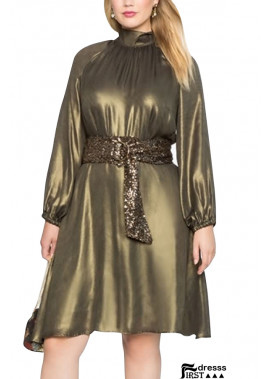 Gold Mock Neck Long Sleeve Tied A Line Casual Plus Size Dress