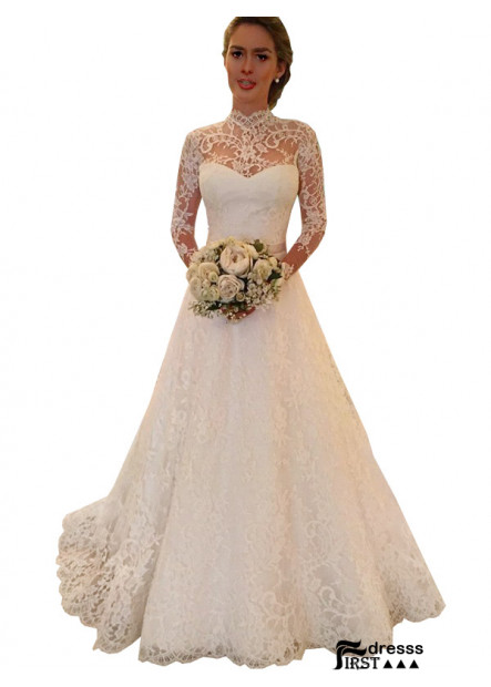 Firstdresss 2021 High Neck Long Sleeves Lace Ball Gowns US