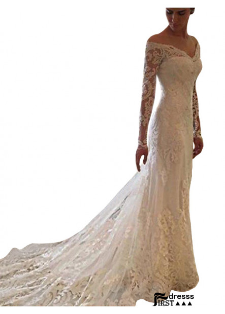 Firstdresss 2021 Beach Lace Wedding Dresses With Long Train