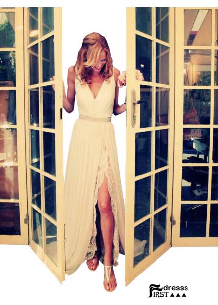Firstdresss 2021 Sexy Long White Wedding Dress With Slit