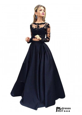 Firstdresss Lace Black Long Prom Evening Dress