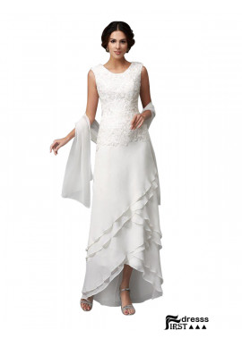 Firstdresss White Soop Neck Mother Of The Groom Dresses With Shawl USA