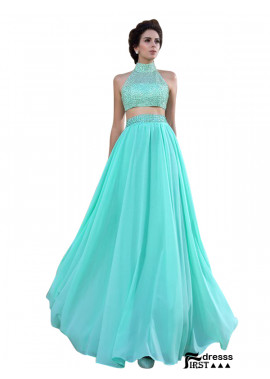 Firstdresss Two Piece Long Prom Dress