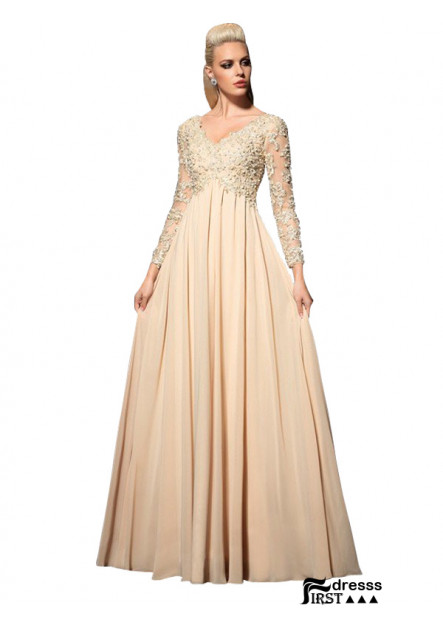 Firstdresss Champagne Long Prom and Evening Dresses With Long Sleeves