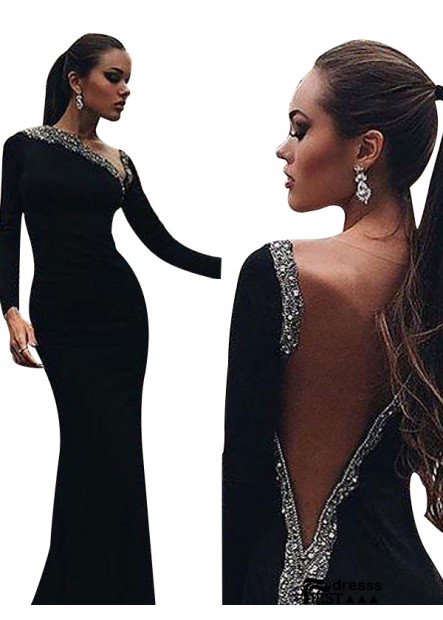 Firstdresss Black Mermaid Long Evening Dress