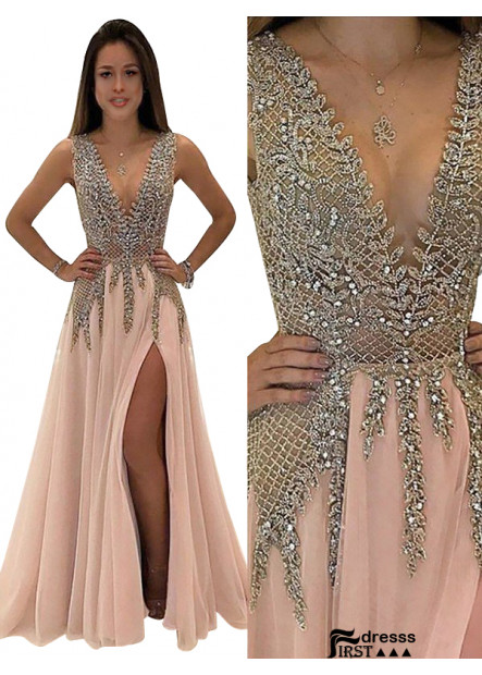 Firstdresss 2021 V Neck Long Prom Gown Evening Dress Online Shopping