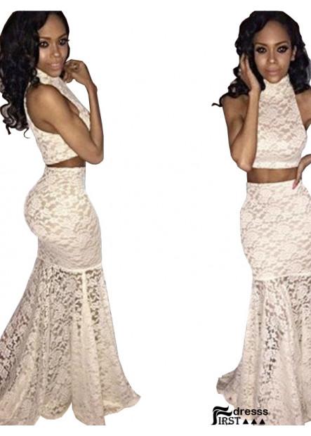 Firstdresss Two Piece Long Mermaid Long Prom Evening Dress