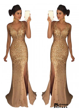 Firstdresss The Gold Long Prom Evening Dresses For Women 2020