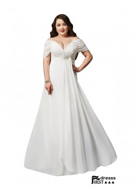 Firstdresss White Long Plus Size Prom Evening Dress