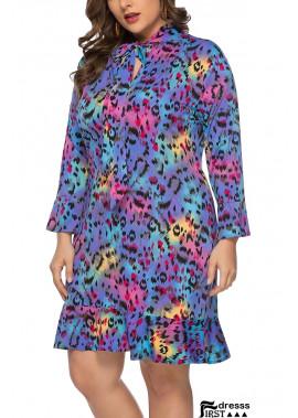 Leopard Tied Neck Long Sleeve Ruffles Casual Plus Size Dress
