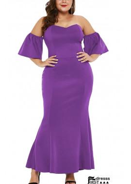 Off Shoulder Short Sleeve Ruffles Sexy Plus Size Bodycon Dress