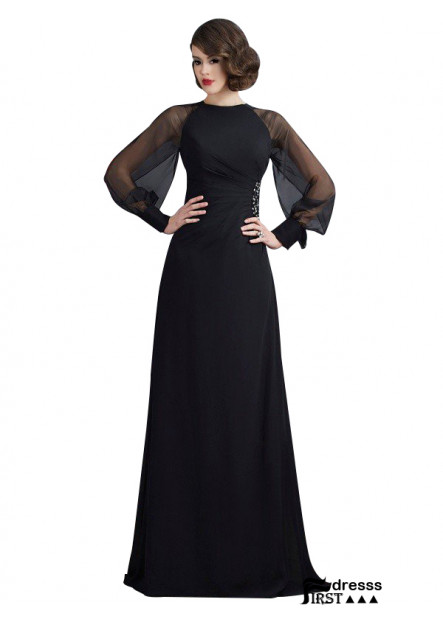 Firstdresss Black A Line Long Formal Evening Dress For Women