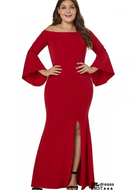 Slit Flare Sleeve Off Shoulder Sexy Maxi Plus Size Mermaid Dress