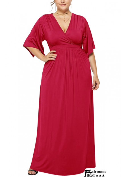V Neck Wrap Slit Sleeve Casual Maxi Plus Size Dress