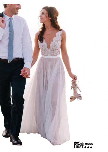Firstdresss 2021 Beach Wedding Dresses With Lace FLower