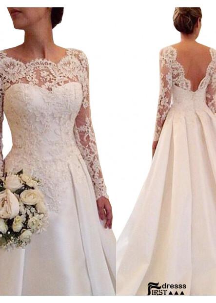 Firstdresss 2021 Wedding Dress Open Back and Long Sleeves