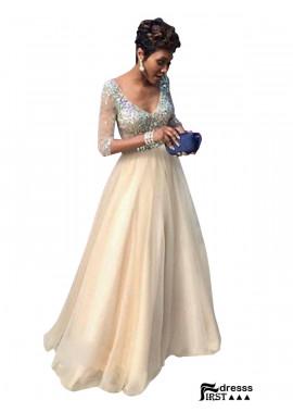 Firstdresss Champagne Long Prom Evening Dress