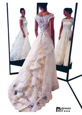 Firstdresss 2021 Beach Lace Wedding Dresses With Train
