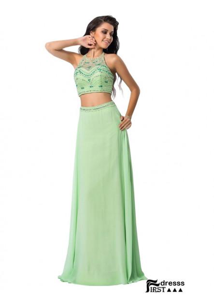 Firstdresss Two Piece Long Prom Dress