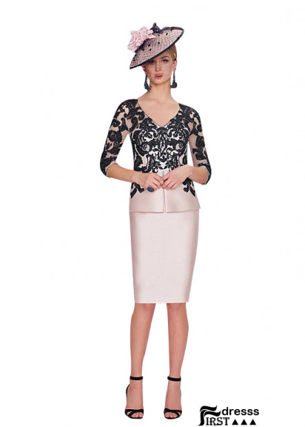 Short Pink Mother Of The Bride Dresses With Black Lace Jacket