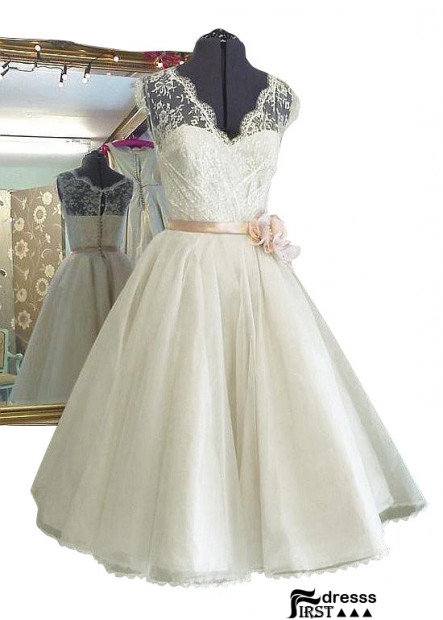 Firstdresss Short Lace Wedding Dress With Bow