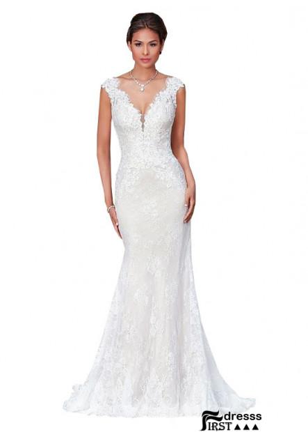 Firstdresss Mermaid V Neck Sheath Wedding Dress for Sale