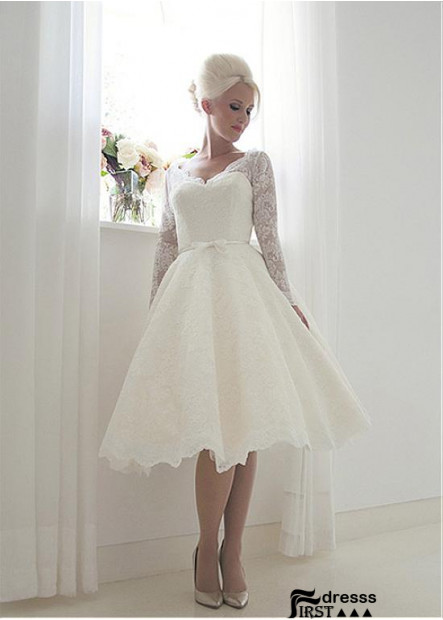 Firstdresss Short Lace Wedding Dress With Long Sleeves