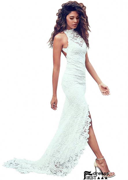 Firstdresss Beach Bodycon Halter Neck Wedding Dress