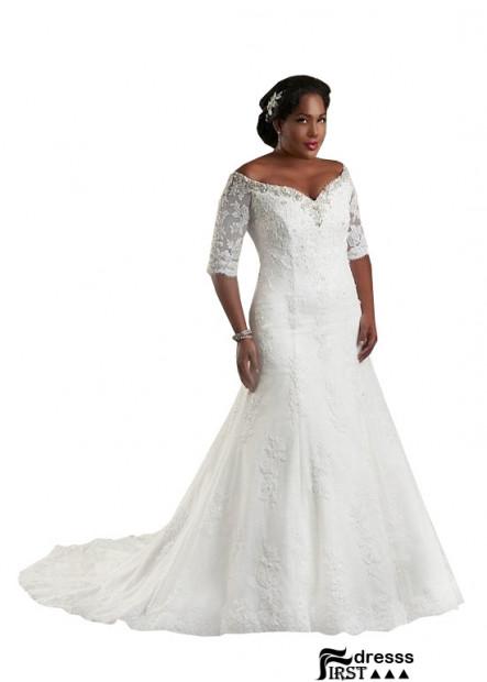 Firstdresss Plus Size Wedding Dress With Sweep Train