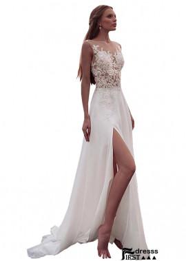 Firstdresss Sexy White Wedding Dress With White Flowers